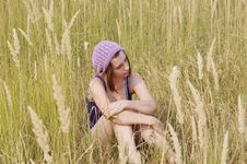 Free The Girl In The Field. Royalty Free Stock Photo - 16090015