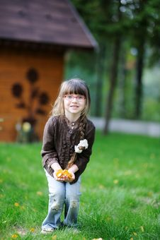 Adorable Little Girl Plays With Yellow Leaves Royalty Free Stock Photography