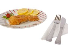 Free Fish Schnitzel With Lemon Royalty Free Stock Photos - 16090898