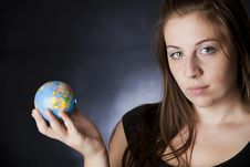 Girl With A Globe Stock Image