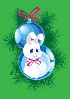 Two Christmas Ball And Bunny Royalty Free Stock Image