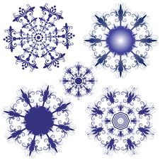 Free Set Violet Snowflakes Royalty Free Stock Photos - 16092708