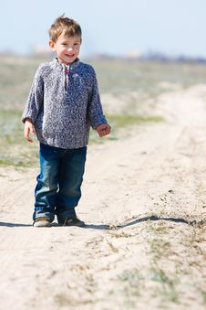 Free Boy On Rural Road Stock Images - 16092884