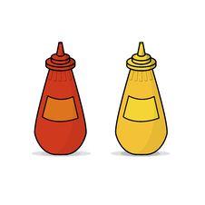 Ketchup And Mustard Stock Photo