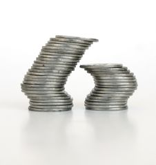 Free Two Piles Of Coins Stock Image - 16096691