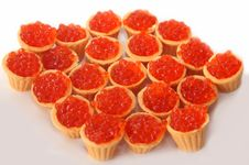 Free Red Caviar In Tartlets Stock Image - 16096881