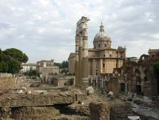 Free Roman Forum With Church Stock Photo - 16097340