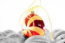 Red Christmas Ball Isolated Royalty Free Stock Photography