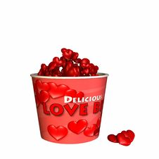 Free Bucket Of Love Bites - Bite Sized Hearts Stock Image - 1610351