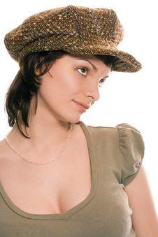 Free Beauty Brunette Girl In Cap Stock Image - 1610771