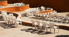 Plastic Chairs In The Amphitheatre Royalty Free Stock Photo