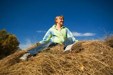 Free Girl On The Hay Royalty Free Stock Photos - 1612148