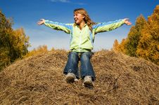 Free Girl On The Hay Stock Photography - 1612162