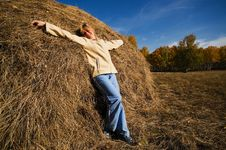 Free Woman On The Hay Royalty Free Stock Photo - 1612185
