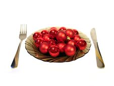 Free Plate With Red Christmas Balls And Knite And Plug Over White Royalty Free Stock Photography - 1616297