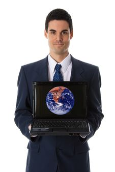 Showing Laptop Royalty Free Stock Photo