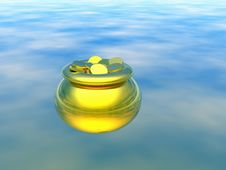 Free Gold Pot With Gold. 3D Royalty Free Stock Image - 1619856