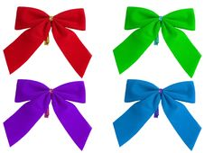 Free Colored Bows On A White Background Stock Images - 1619864