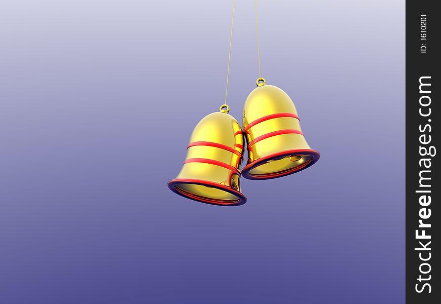Christmas ornaments. Bells 3D.