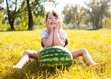 Free Girl With Water-melon Stock Photography - 16100322