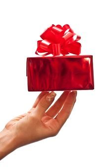 Female Hand Holding Gift Box Stock Photography