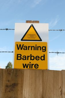 Free Barbed Wire Warning Sign Stock Photos - 16101423