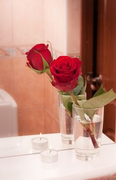 Free Rose With Candle On Mirror Shelf Stock Image - 16101951