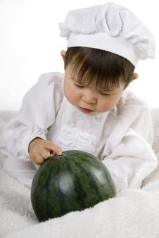 Watermelon And Little Baby Royalty Free Stock Photos