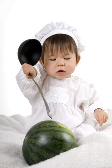 Watermelon And Little Baby Stock Photography