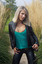Free Blonde Girl In Black Jacket Stock Photo - 16118360