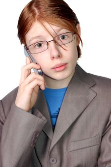 Boy Talking On The Phone Royalty Free Stock Photo