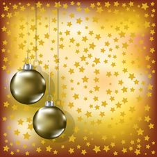 Christmas Golden Balls And Stars Yellow Background Royalty Free Stock Photography