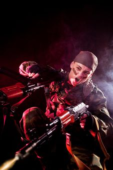 Free Screaming Soldier Shooting His Enemies Royalty Free Stock Image - 16113986