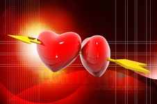 Free Two Hearts Pierced By An Arrow Stock Photo - 16114350