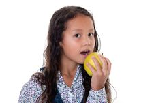 Free Girl Eats Apple Royalty Free Stock Images - 16114839