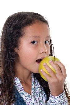 Free Girl Eats Apple Stock Photography - 16114842