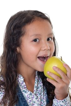 Free Girl Eats Apple Royalty Free Stock Image - 16114846