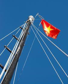 Sailing Ship Mast With Vietnamse Flag Stock Image