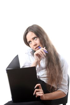 Free Businesswomen Gnaw A Pen Stock Images - 16115064