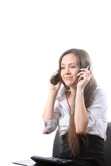 Free Businesswoman Speak By Two Phones And Smile Royalty Free Stock Photo - 16115075