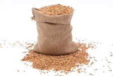 Free Burlap Sack With Buckwheat Spilling Royalty Free Stock Photos - 16116868