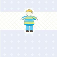 Baby Boy Arrival Announcement Card For You Stock Photos