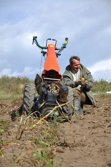 Free Farmer Plowing The Ground Stock Image - 16118961