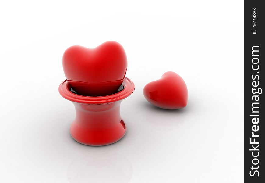 Two hearts pierced 3D image