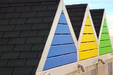 Free Colourful Beach Hut Roofs Stock Photography - 16120002