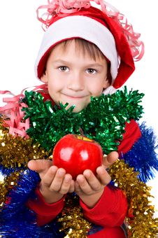 Small Boy In Santa S Hat Stock Photo
