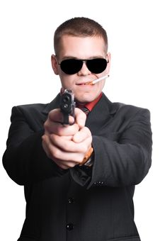 Free Businessman Man With Gun Royalty Free Stock Photography - 16120617