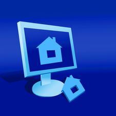 Free Model Of A House And Computer Stock Images - 16122044