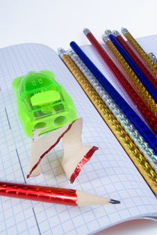 Free Multi-colored Pencils And Sharpener Stock Photography - 16122762