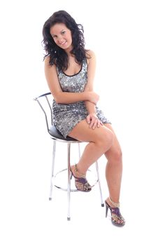 Free Pretty Teenage Girl Posing With Stool Stock Images - 16122964